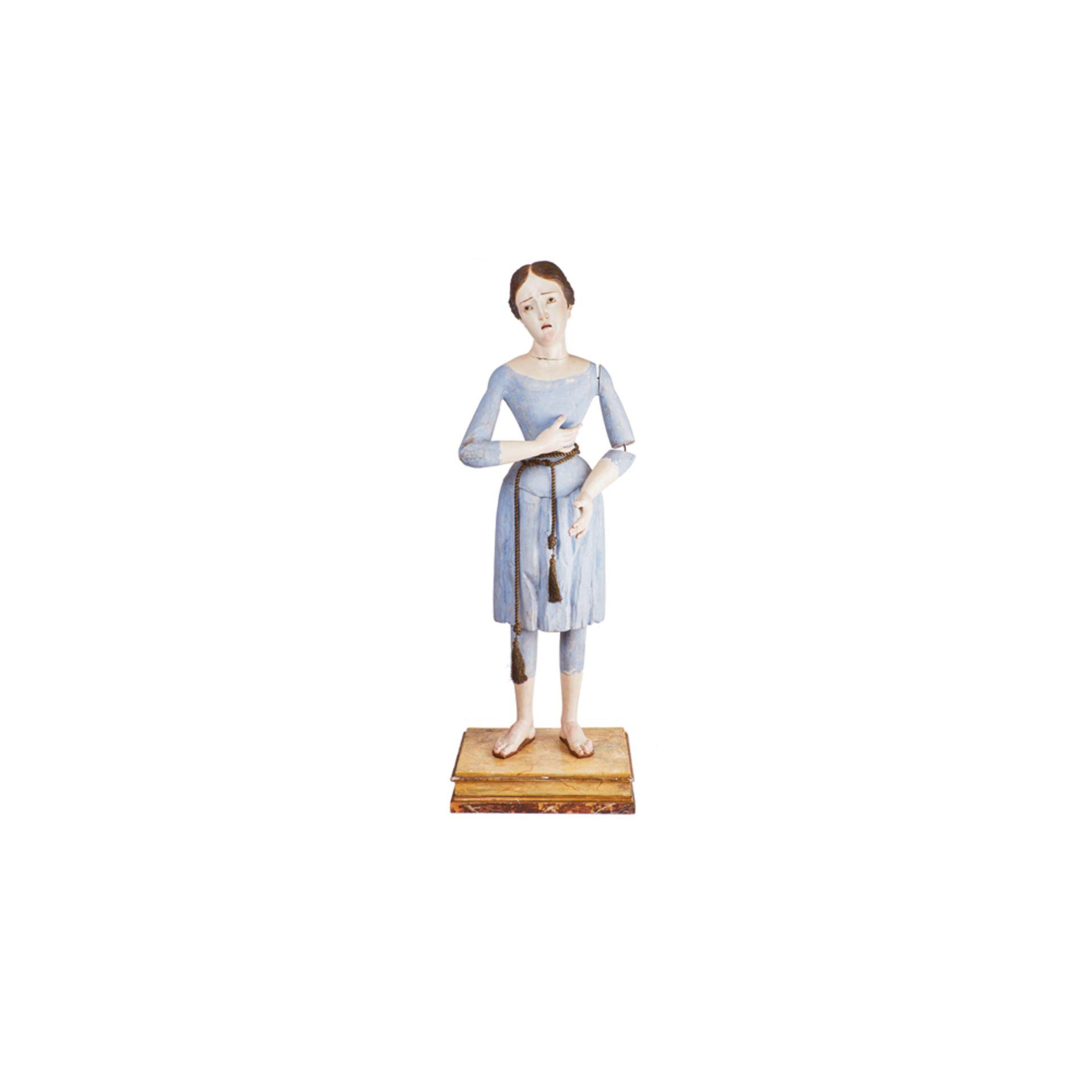 """Los 7 - Escuela española, s.XIX. Virgen Dolorosa. Escultura """"de vestir"""" en madera tallada y policromada."""