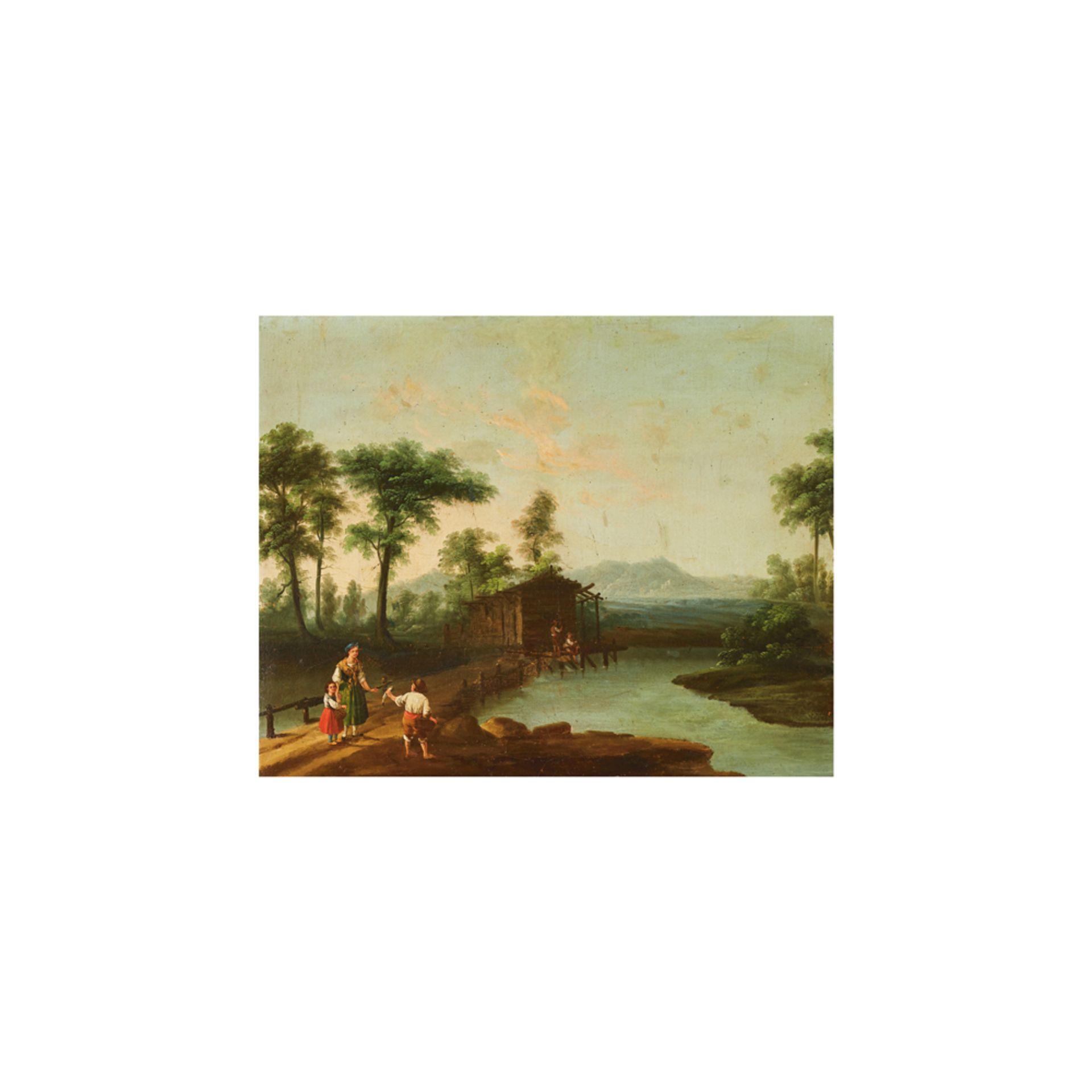 Los 23 - Escuela centroeuropea, s.XIX. Paisaje con figuras. Óleo sobre tela.