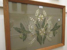 Large silk and gold braid floral design needlework circa 1950, framed