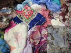 Large quantity of ladies silk and other scarves