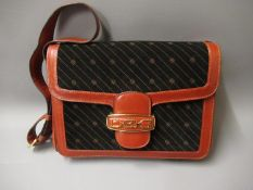 Italian brown leather and suede shoulder bag with gold tone hardware and dust cover