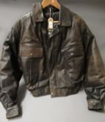 Brown leather aviator style ' Barnstorm ' jacket by Frank Thomas, size 36