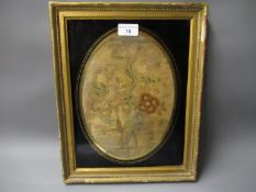 Late 18th / early 19th Century Berlin silk picture, flower study, oval mounted in verre eglomise