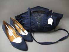 Olivenzo Battaglia for Baldinini navy blue canvas shoulder bag with detachable strap, together
