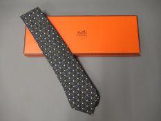 Hermes blue silk tie, in original box
