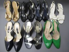 Five pairs of Italian leather high heeled sandals and two pairs of shoes, sizes 39 and 40