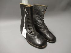 Pair of Victorian children's leather boots with buttons