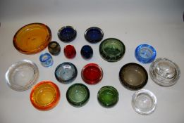 Collection of nineteen Whitefriars glass items including dish etc