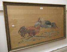 Silk work picture of cock fighting, 18ins x 30ins, gilt framed