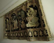 Indonesian fabric and sequin wall hanging, 65ins wide