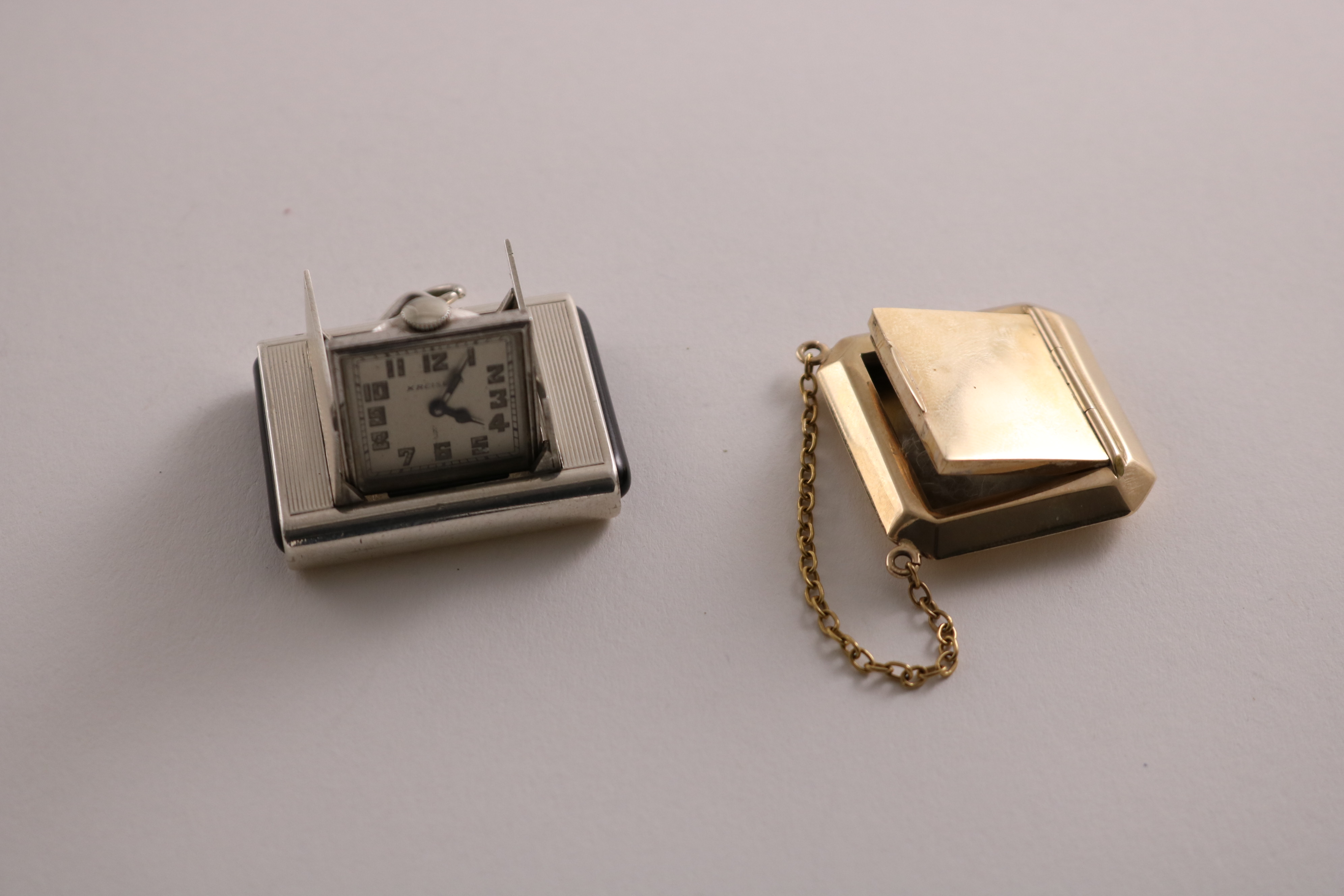 """Lot 41 - A NORTH AMERICAN SILVER ART DECO SPORTS WATCH initialled and signed """"KREISLER"""" on the dial & a small"""