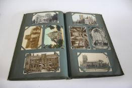 POSTCARD ALBUM & LOOSE POSTCARDS a large album of mostly GB content, including various Churches (