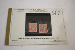 MONTSERRAT STAMPS a mint Montserrat 1903 5 shillings and 1907 5 shillings. With original invoice