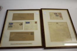 FRAMED POSTAL HISTORY 2 frames with 5 Air Mail covers, including Nov 1931 from Wellington to