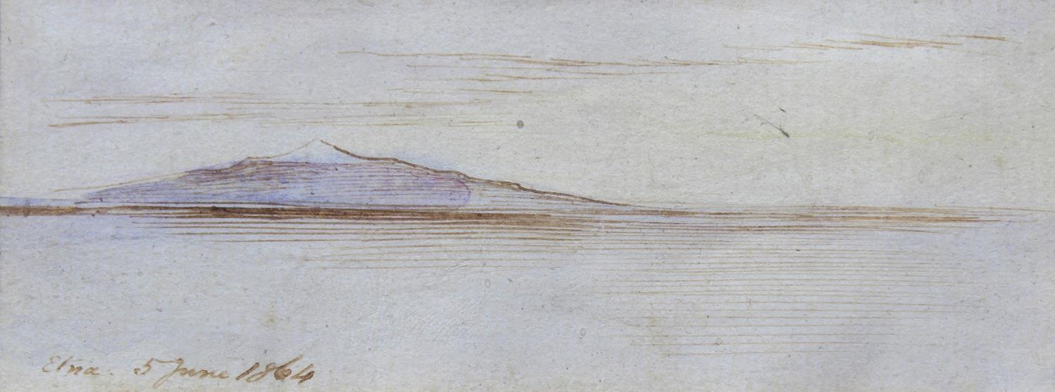 Lot 1639 - EDWARD LEAR (1812-1888) ETNA Inscribed Etna 5 June 1864, watercolour with pen and ink 4 x 11cm.;