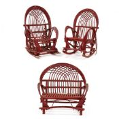 Three Piece Twig Furniture Set, Red Painted