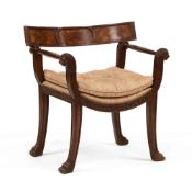 Theodore Alexander, Grecian Style Carved Mahogany Armchair