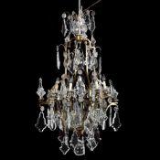 Large Vintage Italian Rococo Style Drop Prism Chandelier