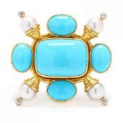 18KT Gold, Turquoise, Pearl, and Diamond Pendant / Brooch, Elizabeth Locke