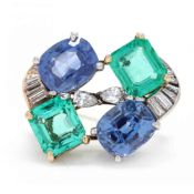 Platinum and Gold, Sapphire, Emerald, and Diamond Brooch, signed