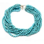 14KT Gold and Turquoise Torsade Necklace