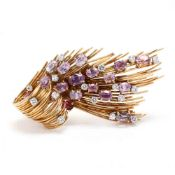 18KT Gold, Pink Sapphire, and Diamond Brooch