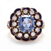 Gold, Sapphire, Diamond, and Enamel Ring