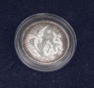 China 1990, 5 Jiao - silver coin in capsule and original case. Dragon and Phoenix - Great Wall of