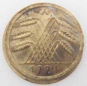 Weimar Republic 5 Pfennig 1924 A, ERROR metal, 2 x side ears, 1 x incus. With ribbed edge. Very