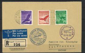 Liechtenstein, first post flight in 1938, Zurich-Stockholm, top franking with Michel No. 143, 145,