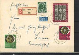 FRG 1951, MiF, Michel No. 128, 140-143. Catalog price 255 euros. Top receipt.