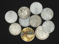 FRG Lot 5.- and 10.- DM - silver coins, consisting of 8 x 5.- DM (silver eagle) and 2 x 10.- DM.