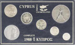 Cyprus 1988 course coin set, uncirculated. BU.