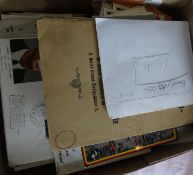 Small cardboard box full of philately remains, along with nice documents and cards. Please visit!