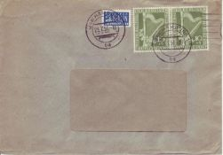 Berlin 1951, Mi - No. 72 as a pair on receipt from Hamburg (Hamburger Kreditbank). Nice canceled: