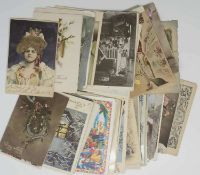 Lot of greeting cards, different styles (Art Nouveau, naive art etc.). Over 70 St. Please visit.