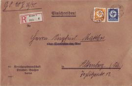 German Reich 1935, R - letter with official stamps as mixed franking, from Dresden (