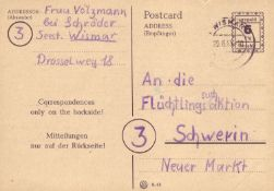 Allied Occupation British Zone 1945, makeshift editions, P792 II from Wismar to Schwerin. Checked