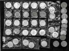 BRD, Lot 5.- DM - Münzen, dabei Gedenkmünzen und Silberadler. Insgesamt 39 Stück.