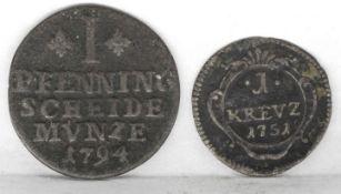 Braunschweig - Wolfenbüttel 1794, 1 Pfennig, dazu Baden - Durlach 1751, 1 Kreuzer. Braunschweig -