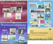 Drei Briefmarkenkalender: 2015 - 2017. 2 x in OVP. Three stamp calendars: 2015 - 2017. 2 x in