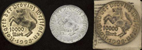 Deutschland 1923, Lot Notgeld Provinz Westfalen, bestehend aus 2 x 10.000 Mark, Messing, davon 1 x
