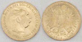"Österreich 1915, 20.-Cor. - Goldmünze ""Franz Joseph I."". Gewicht: ca. 6,8 g. VZ. Austria 1915, 20.-"