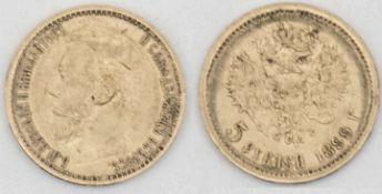 "Russland 899, 5 - Rubel - Goldmünze ""Zar Nikolaus II."". Gewicht: ca. 4,3 g. Russia 899, 5 - ruble -"