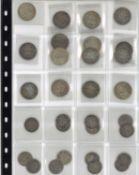 Kleine Sammlung Silbermünzen Kaiserreich, 1 und 1/2 Mark Stücke. Insgesamt 15x1 Mark und 12x 1/2