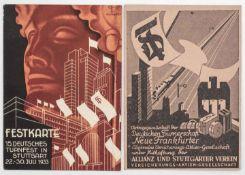 15. Deutsches Turnfest in Stuttgart 22. - 30. Juli 1933: 1 x Wohnungskarte und 1 x Festkarte. 15th