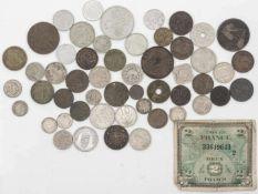 Lot Münzen aus Europa, dabei Finnland, Frankreich, Belgien, Luxembourg, Schweiz etc. Dazu einige