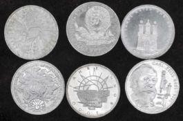 BRD 1988/89 D, 6 x 10.- DM - Silbermünzen. Stgl. FRG 1988/89 D, 6 x 10 DM - silver coins. BU.
