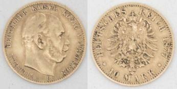 """Deutsches Kaiserreich Preußen 1877, 10.- Mark - Goldmünze """"Wilhelm I."""". Gewicht: ca. 4 g. German"""