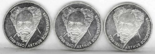 """BRD 1988 D, 3 x 10.- DM - Silbermünzen """"Arthur Schopenhauer"""". Stgl. FRG 1988 D, 3 x 10.- DM -"""